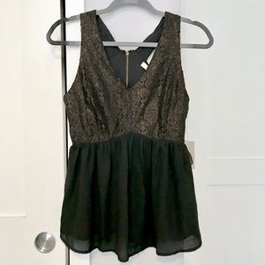 Forever 21 NEW Black & Gold Babydoll Top Blouse